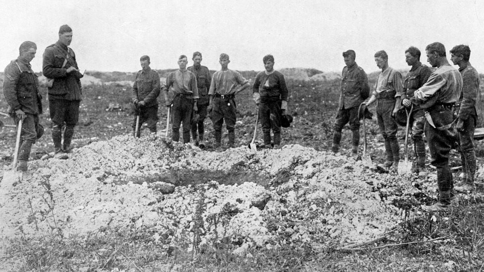 Funeral at Western Front for WW1 soldiers
