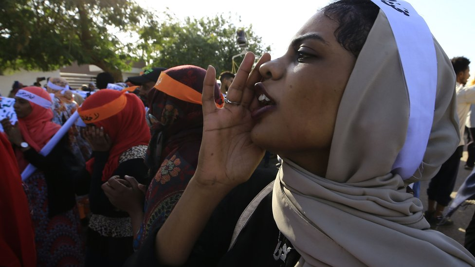 Sudanese women march in Khartoum to mark International Day for Eliminating Violence against Women, in the first such rally held in the northeast African country in decades, on 25 November, 2019.