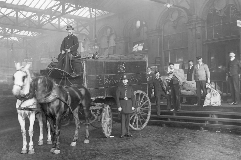 The first Penny Post dispatch arrives at Waterloo Station in the 19th Century