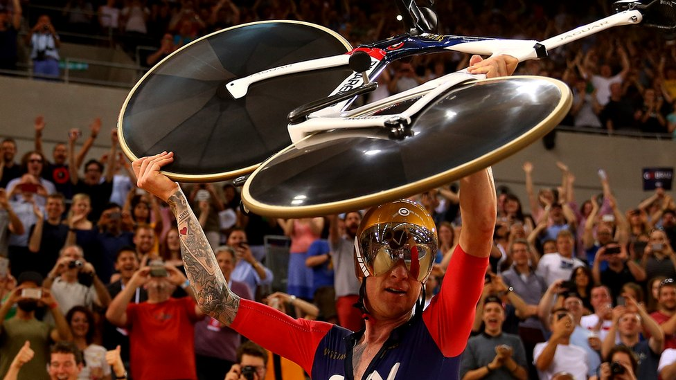 Sir Bradley Wiggins of Great Britain and Team Wiggins celebrates breaking the UCI One Hour Record