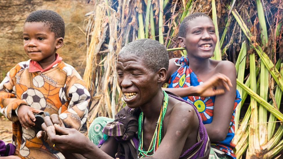 Hadza women and child in Tanzania