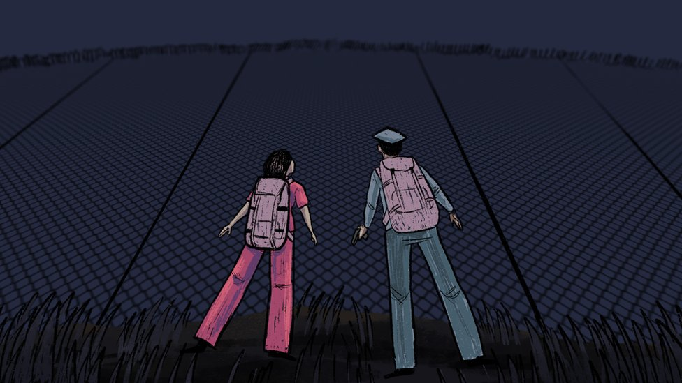 Jeon and Kim at the fence guarding the detention centre - illustration