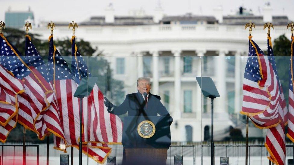 Donald Trump en un mitin en DC
