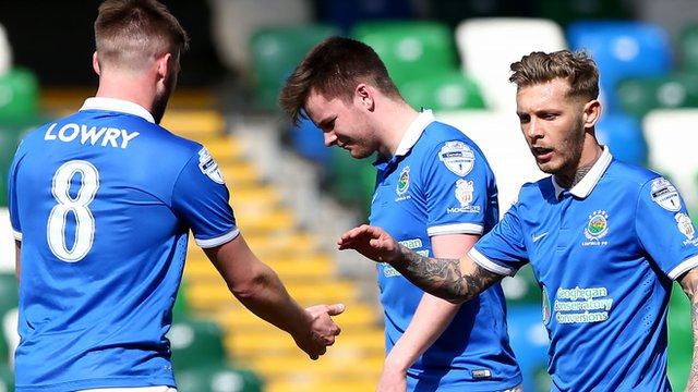 Linfield's Kirk Millar celebrates scoring against Coleraine