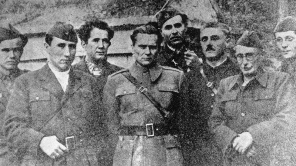 Tito, Đilas, Pijade, Kardelj, Lola Ribar...