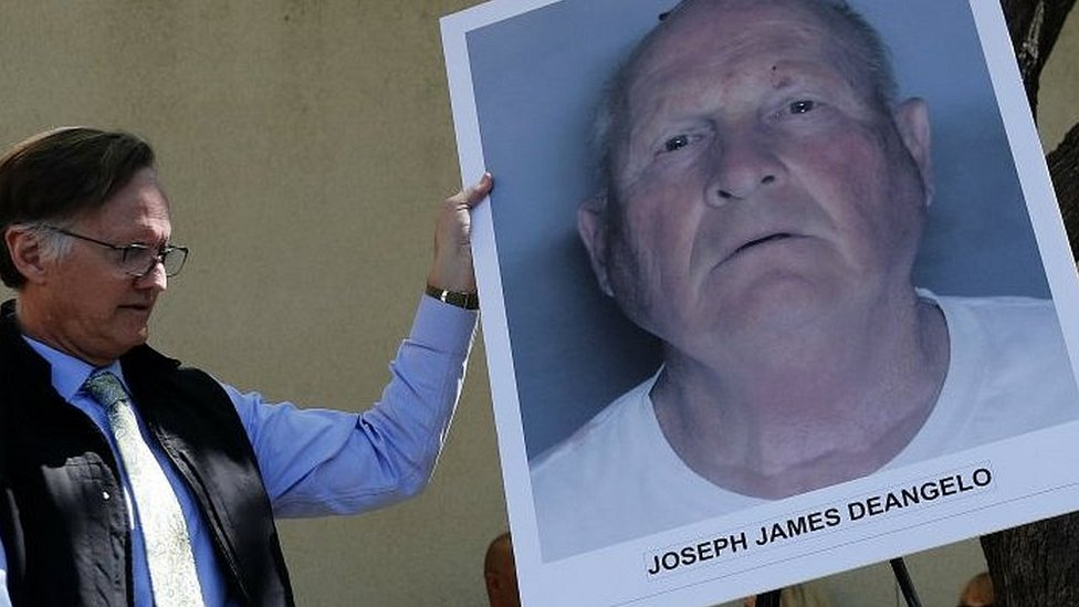 Picture of suspect Joseph DeAngelo, 72, at a district attorney press conference in Sacramento, California, 25 April 2018.