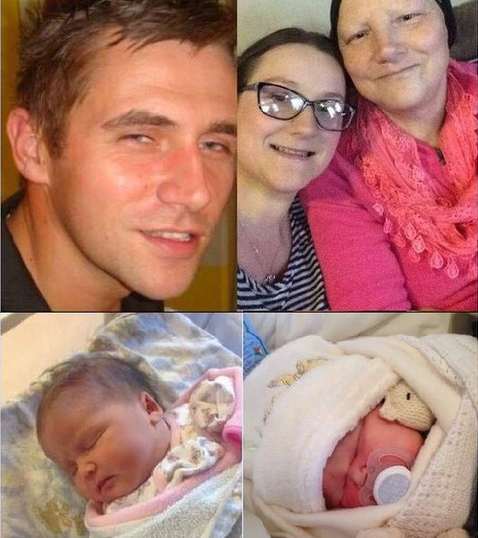 Suzanne Lowe's brother Paul, Suzanne with her mum, baby Willow-Paul, baby Ruby