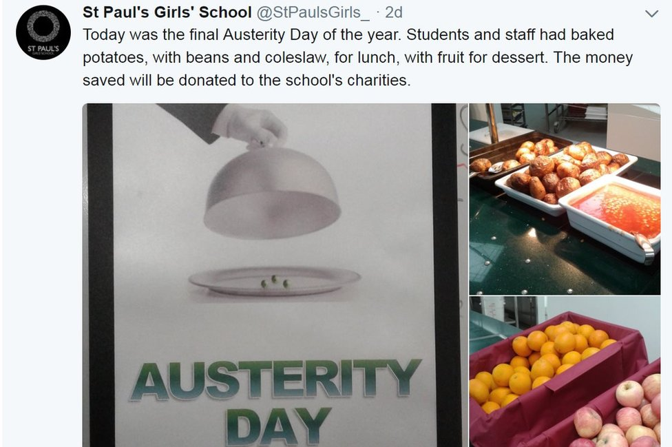 The school posted on Twitter about an Austerity Day held on Wednesday