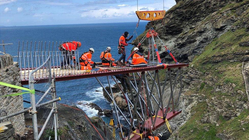 Tintagel Castle bridge installation begins