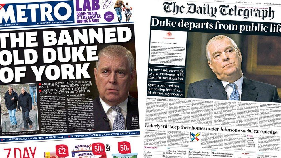 Metro and the Daily Telegraph - 21 November