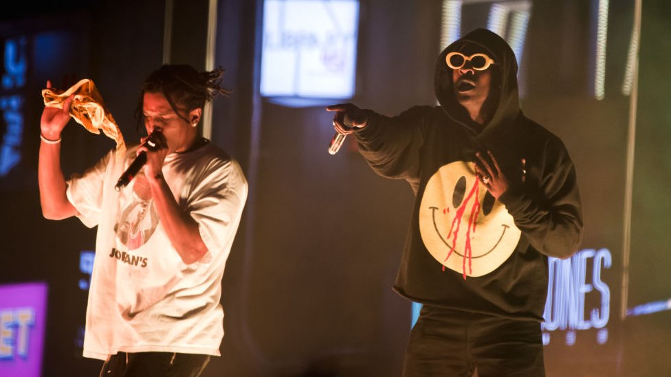 Skepta and ASAP Rocky on stage at Parklife in Manchester