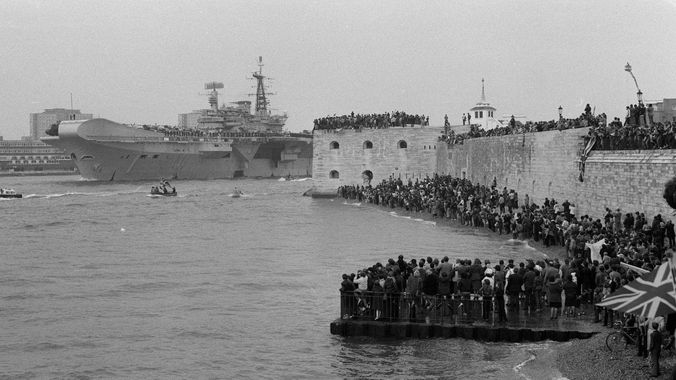 The task force aircraft carriers sailed from Portsmouth in April 1982