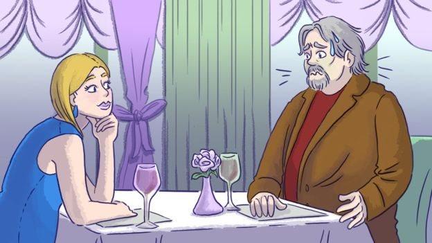 Una pareja en un restaurante