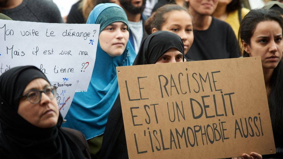 Protesters against Islamophobia in France, October 2019