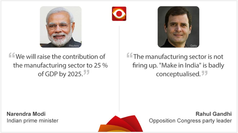 Quote card withNarendra Modi on left and Rahul Gandhi on right
