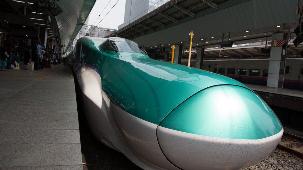 Bullet train at a platform at Tokyo train station.