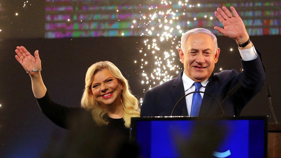 Sara and Benjamin Netanyahu celebrate at Likud's headquarters after Israel's general election in April 2019