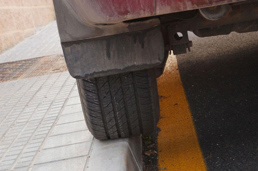 Tyre on pavement