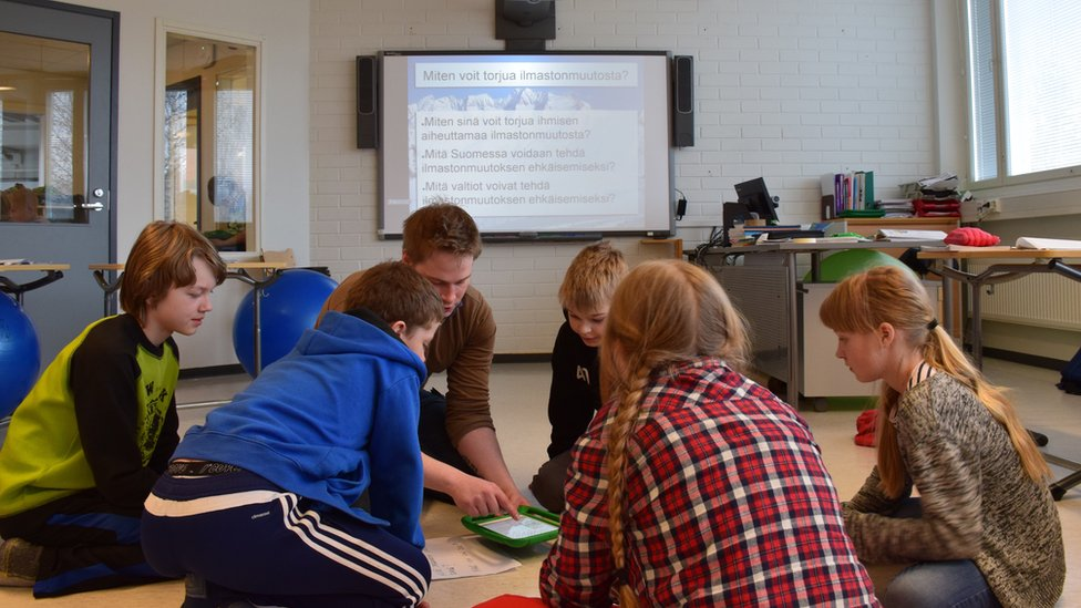 Children learning at Hauho Comprehensive School, Finland