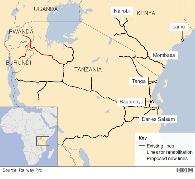 map of East Africa's railways