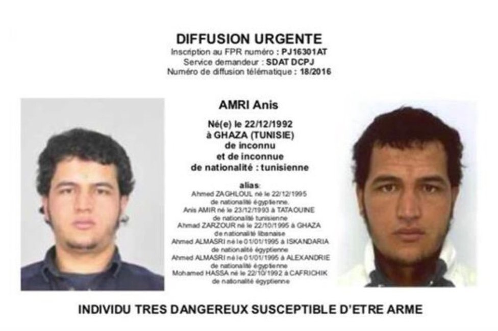 A French version of the police notice issued for Anis Amri