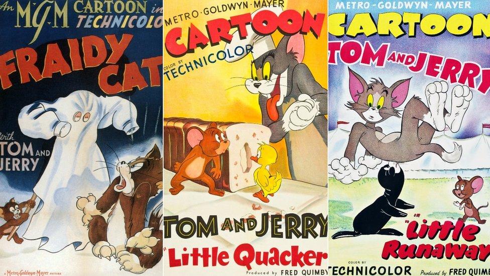 Tres carteles de promoción de los primeros Tom y Jerrys - Fraidy cat, Little Quacker y Little Runaway