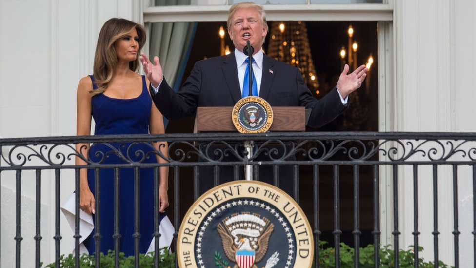 The president and first lady at last year's 4 July celebration