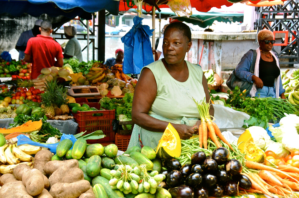 Fruit and veg market in Guadeloupe, 8 Apr 2012 file pic