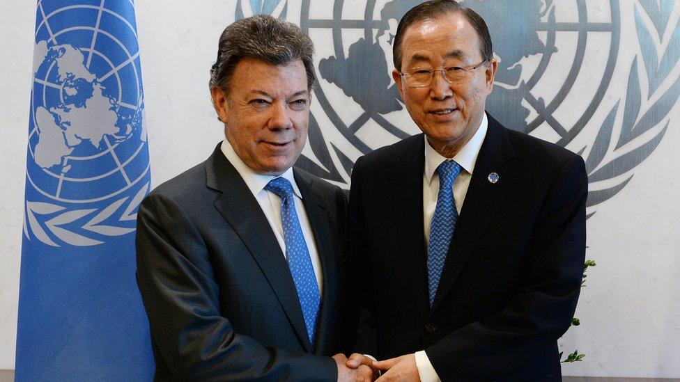 Juan Manuel Santos e Ban Ki-moon