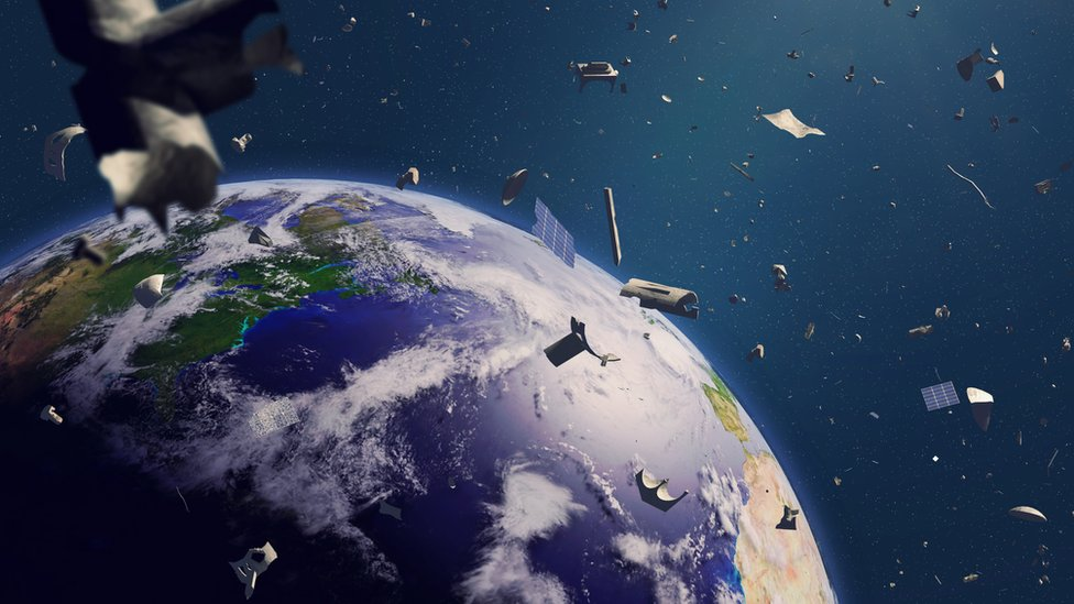 Garbage that revolves around the Earth.