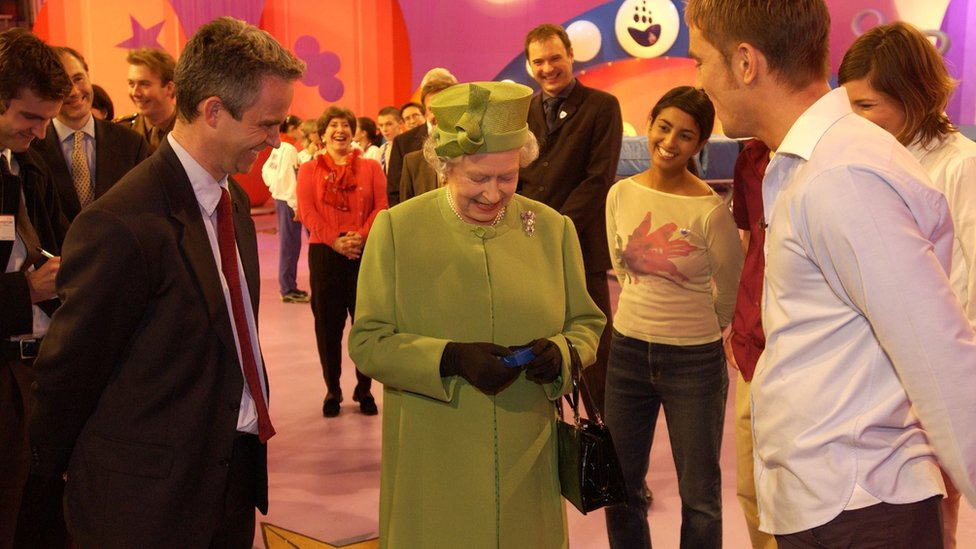 The Queen receives a gold Blue Peter badge