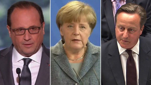 Francois Hollande, Angela Merkel and David Cameron