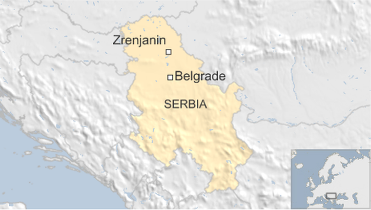 Map showing Zrenjanin in Serbia