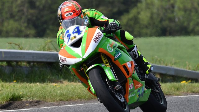 Alastair Seeley on his Supersport machine during Tuesday's practice at the North West 200