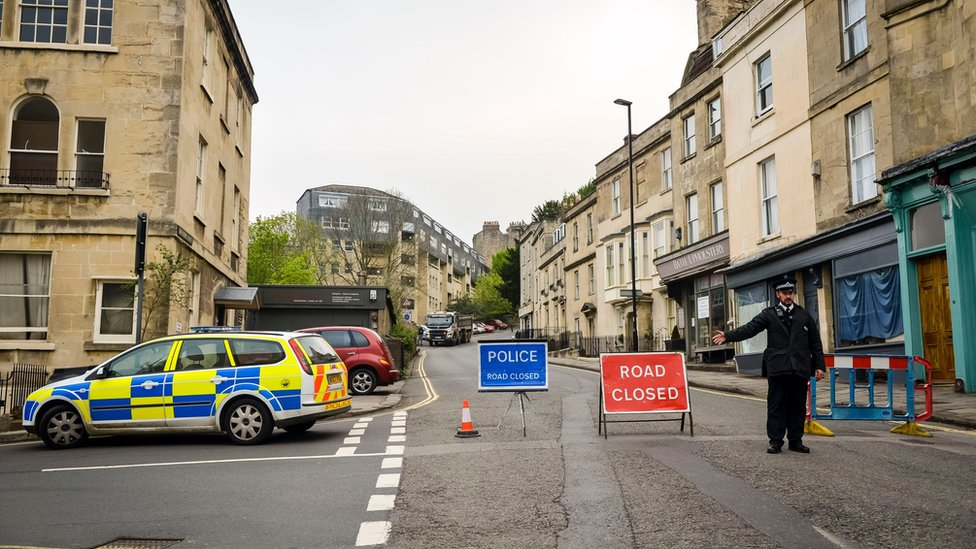 Police road closure in Bath
