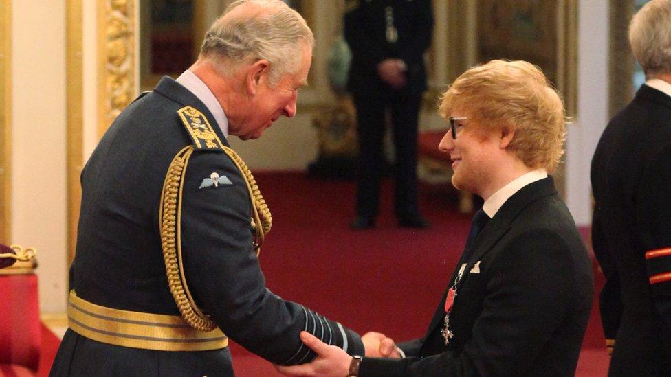 Ed Sheeran MBE with Prince Charles