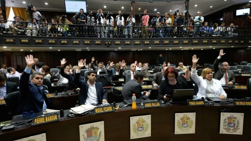 Opposition deputies are pictured during the August 15, 2017 session of the Venezuelan National Assembly in Caracas.