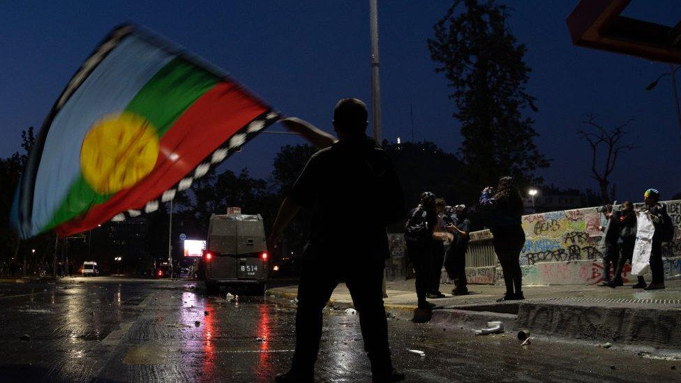 Bandera mapuche en Chile