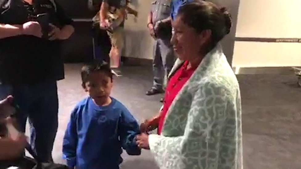 Migrant children: Mum and seven-year-old reunited