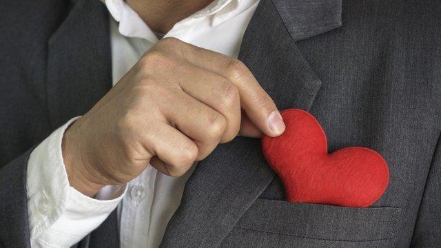 Heart in suit top pocket