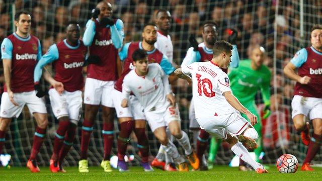 Philippe Coutinho's cheeky free-kick puts Liverpool level