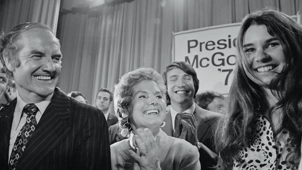 Presidential candidate Senator George McGovern (left), his wife, Eleanor (center), and Kathleen Kennedy (right) pictured in April 1972