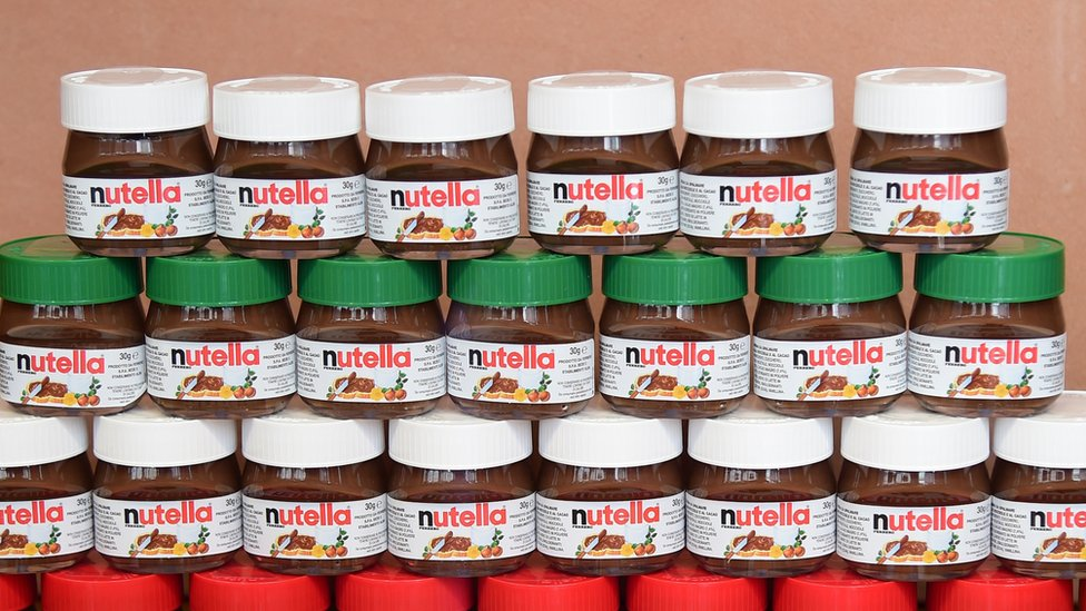 Small pots of Nutella on display in Alba, northern Italy