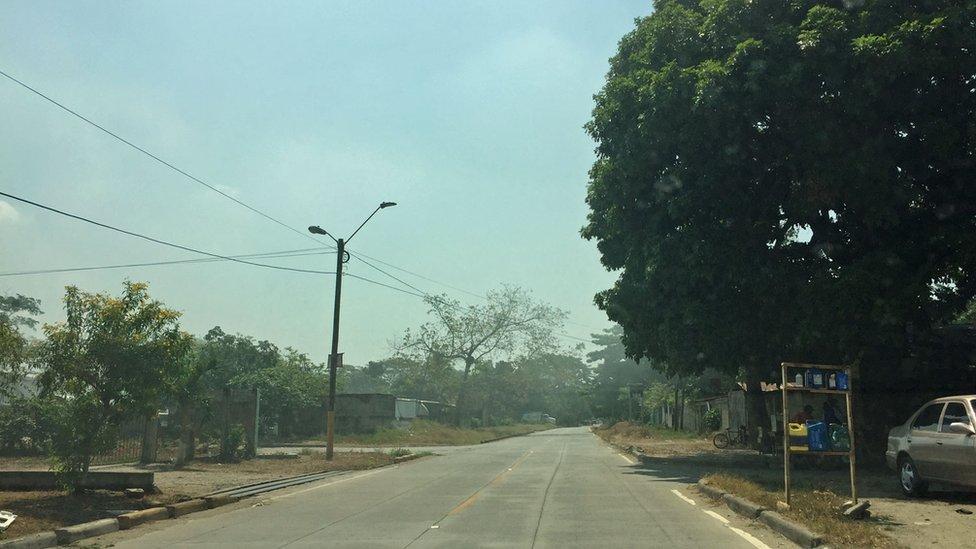 Carretera que separa los territorios de pandillas en Chamelecón.