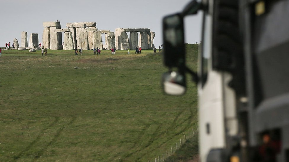 Lorry going past Stonehenge