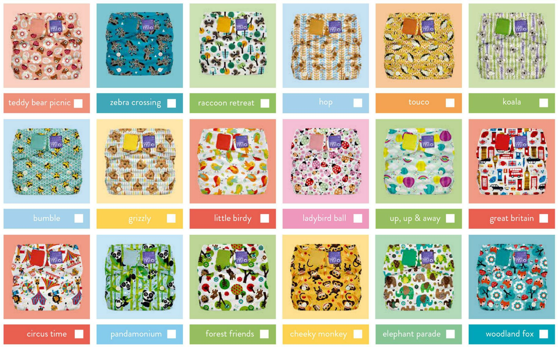 a chart showing images of reusable nappies