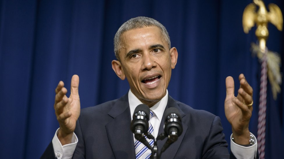 Obama, shown at a 2015 meeting on countering violent extremism, spoke about the threat from IS