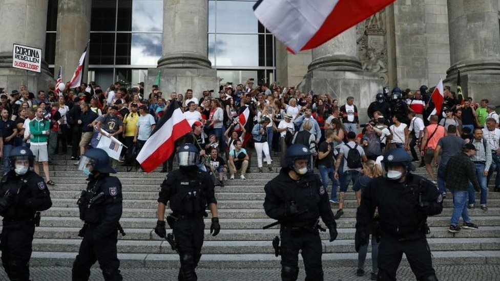Some protesters broke through to the Reichstag before being dispersed