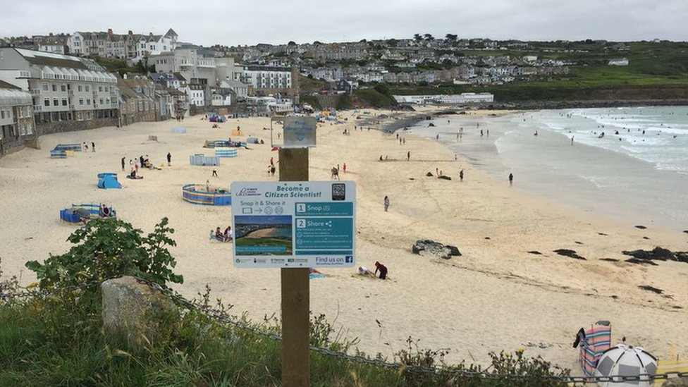 CoastSnap Station at Porthmeor beach