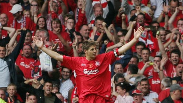 Steven Gerrard scores for Liverpool in the FA Cup